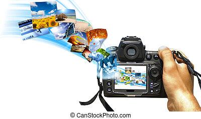 Digital reflex - A reflex with photo stream on display
