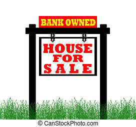 Real Estate home for sale sign, bank owned