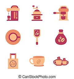 assembly flat icons coffee - assembly of flat icons coffee