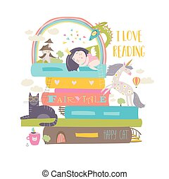 Fairytale concept with book,unicorn,dragon,princess and...