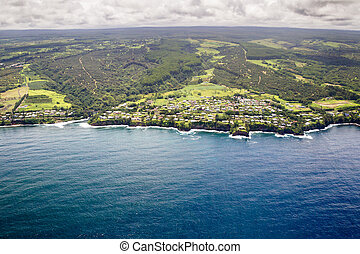 Paukaa, Big Island, Hawaii - Aerial view of the little town...