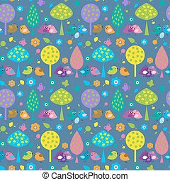 Seamless pattern with cute birds on a blue background -...
