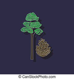 paper sticker on stylish background plant Pinus - paper...