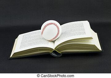 Baseball Scholar - Baseball sits atop open gold edged book...