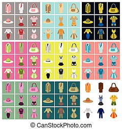 assembly flat icons fashion clothes