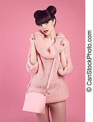 Fashion studio teen look style with casual handbag....