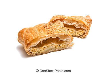 Puff pastry isolated on white background