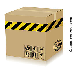 Handle With Care Box danger Vector - Recycle box and rubber...