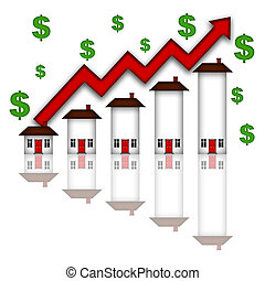 Real Estate Home Values Going Up Graph Chart White...