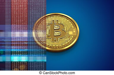 3d bitcoin blank - 3d illustration of bitcoin over blue...