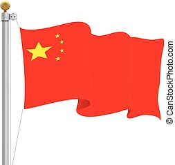 Waving China Flag Isolated On A White Background. Vector Illustration.