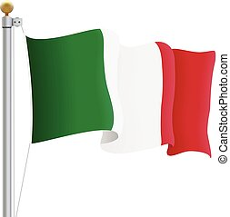 Waving Italy Flag Isolated On A White Background. Vector Illustration.