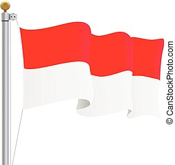 Waving Indonesia Flag Isolated On A White Background. Vector Illustration.
