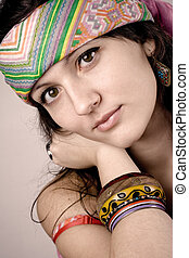 beautiful young hippie woman - closeup portrait of beautiful...