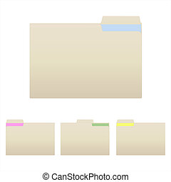 Image of various manilla folders isolated on a white background.