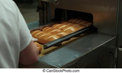 Machine for cutting bread. - Freshly baked bread enters the...