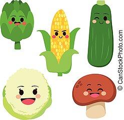 Cute Vegetables Set - Cute group of fresh healthy vegetable...