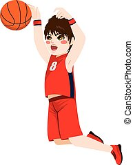 Basketball Action Boy - Red young teenager boy in a...