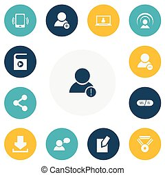 Set Of 13 Editable Internet Icons. Includes Symbols Such As...