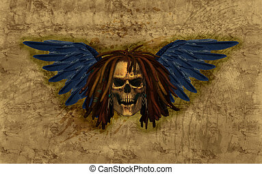 Gevleugeld,  grunge,  Dreadlocks, schedel