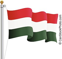 Waving Hungary Flag Isolated On A White Background. Vector Illustration.