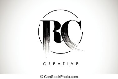 RC Brush Stroke Letter Logo Design. Black Paint Logo Leters...