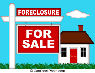 Real Estate Home Foreclosure with For Sale Sign Illustration