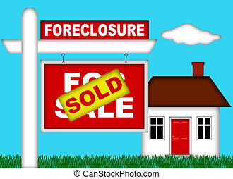 Real Estate Home Foreclosure with Sold Sign Illustration