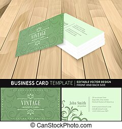 Green business card template vector vintage design with front and back side.