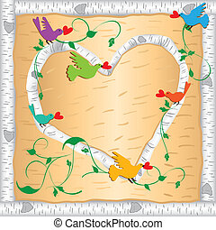 Birch wood branch Valentine Frame - Primitive birch wood...