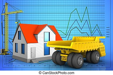 3d blank - 3d illustration of generic house with crane over...
