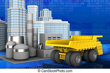 3d of heavy truck - 3d illustration of factory with urban...