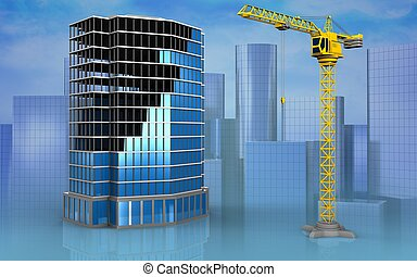 3d blank - 3d illustration of office building construction...