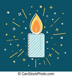 Colored Christmas candle icon in thin line style....