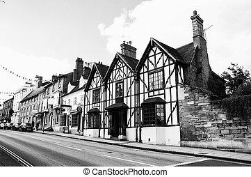 Stratford upon Avon, UK. Old historical buildings of the...