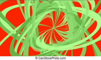 green spiral lines in red