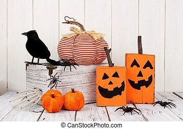 rústico, elegancia, decoración, halloween, andrajoso