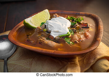 South American Aztec Soup - Fresh hot South American Aztec...
