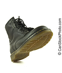 """Heavy shoe in """"stomping"""" action - Black leather heavy shoe..."""