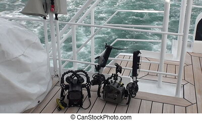 Camera for underwater video on yacht deck in Arctic Ocean....
