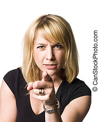 Portrait of a woman pointing at you with her finger