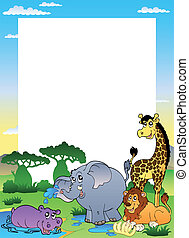 Frame with four African animals - vector illustration