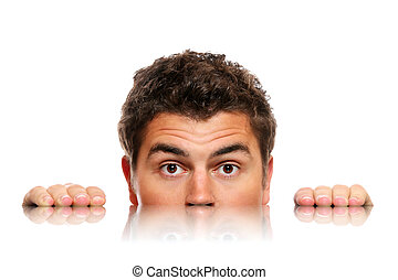 Male face - A picture of a male face and its reflection over...