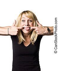 Blond woman making a grimace