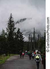 Tourist travel to a Morskie Oko, Zakopane, Poland