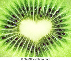 Kiwi fruit close-up Heart shape