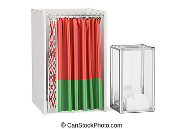 Belorussian election concept, ballot box and voting booths...