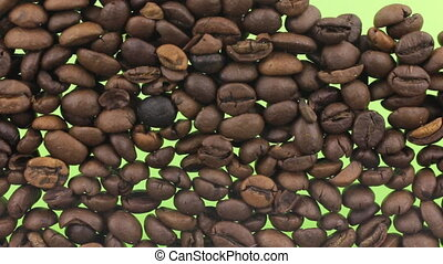 Shift the coffee beans opening the green screen. Food...