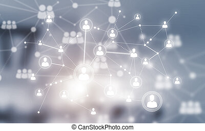 Concept of networking and connection against modern office...