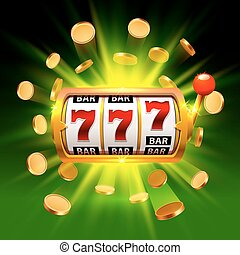 Big win slots 777 banner casino on the green background....